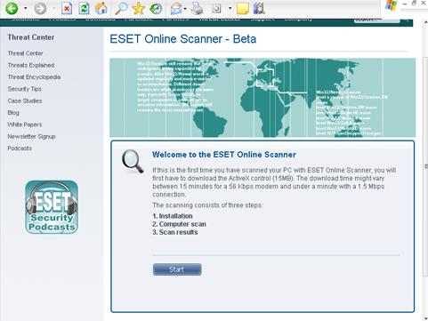 ESET Online Scanner NOD32, iniciar el escaneo