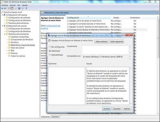 Buscar en Internet desde el menú Inicio en Windows 7
