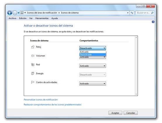 Desactivar reloj de Windows 7
