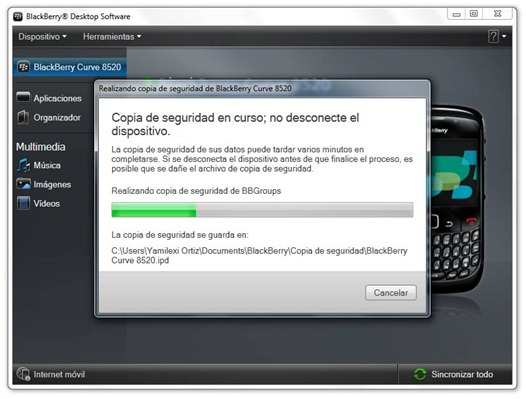 Copia de seguridad de BlackBerry