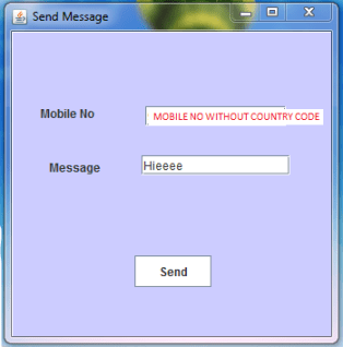 Send SMS using Java application interface
