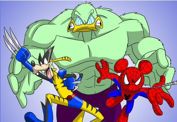 hulk comic character disney company spiderman wolverine goofy mickey mouse marvel comics donald d_wallpaperswa.com_75