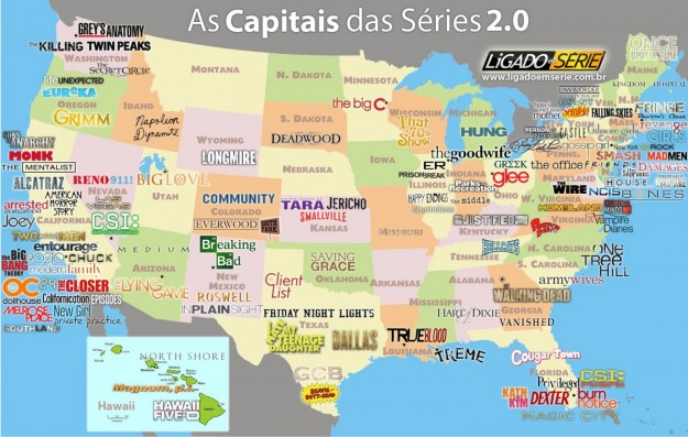 Questa è una mappa geografica delle vostre serie tv preferite