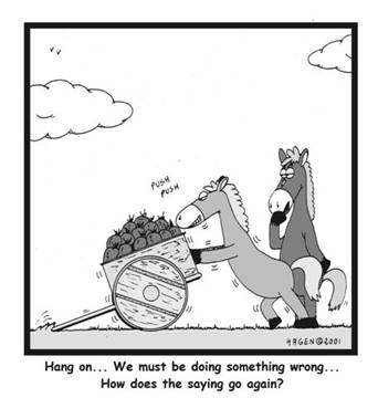 Cartoon featuring a horse pushing a cart as another horse looks on