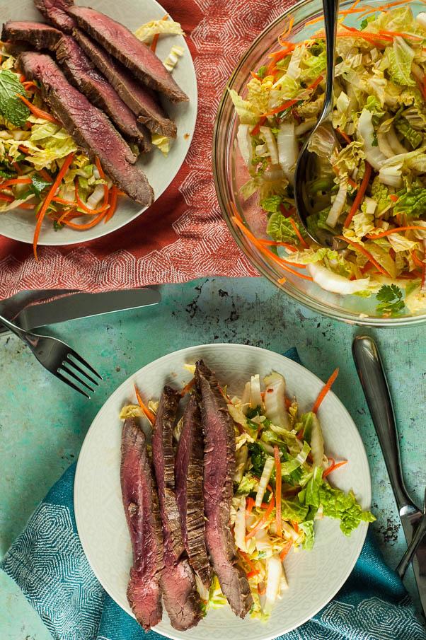 Vietnamese Flank Steak with Citrus Mint Cabbage Salad