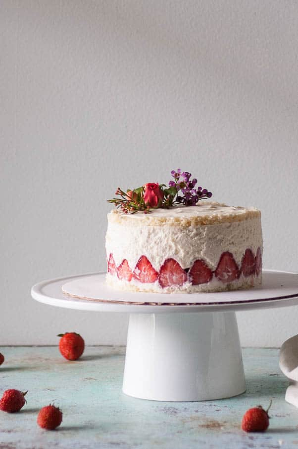Strawberry Fraisier with Lillet Chiffon Cake