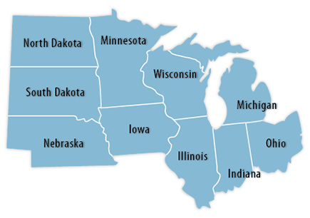 The Midwest Region Map Map Of Midwestern United States Midwestern - Map us midwest