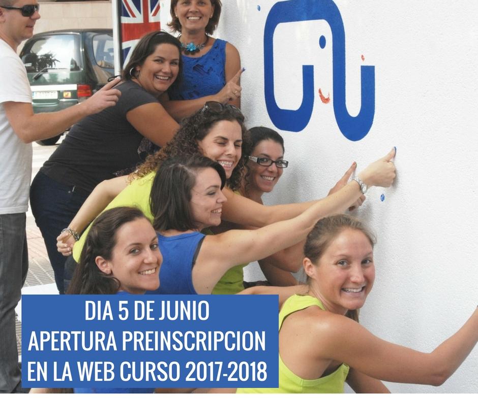 APERTURA PREINSCRIPCION CURSO 2017-2018 EL 5 DE JUNIO
