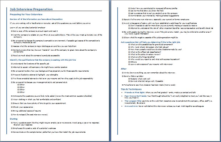 Job Interview Preparation Checklist
