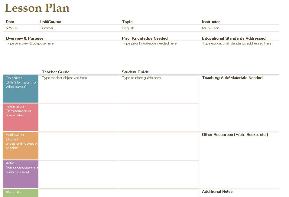 English Lesson Plan Template