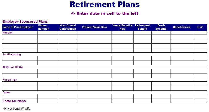 Retirement Plan Template