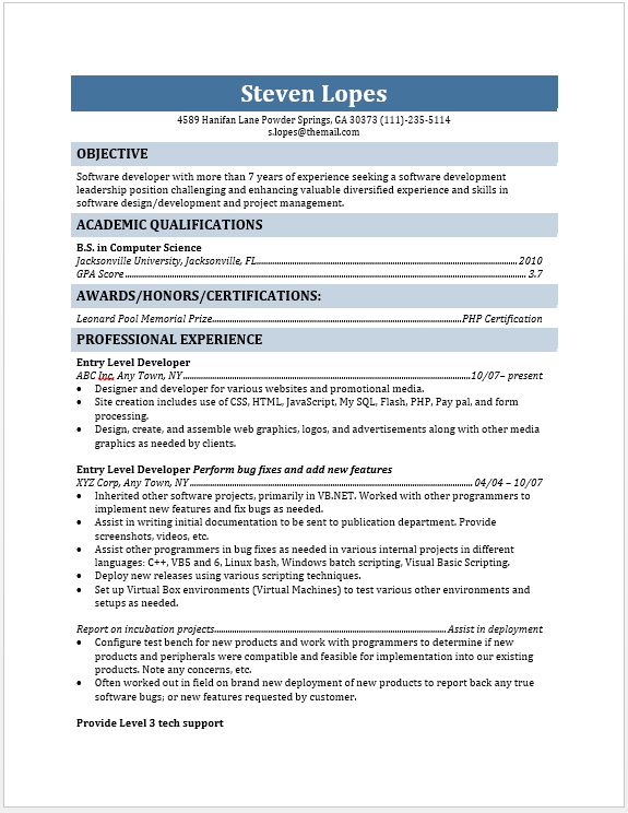 entry - Java Developer Entry Level