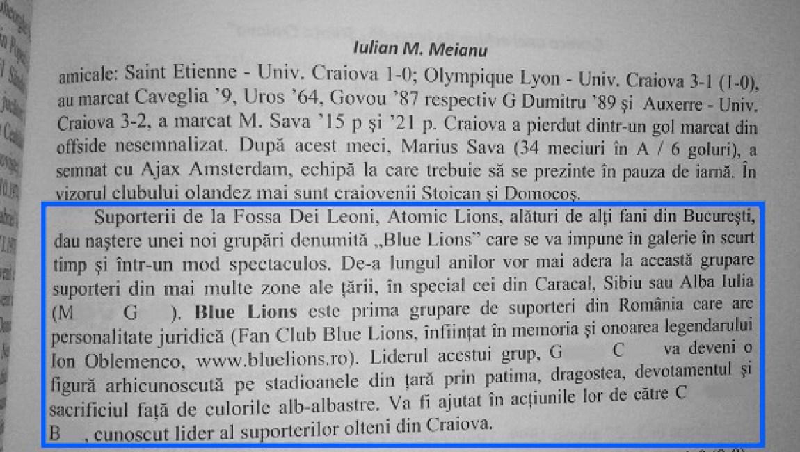 cateva randuri dedicate fan clubului blue lions in cartea cronica unei echipe de legenda