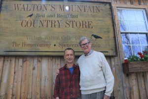 ©2014-2016 Blue Ridge Life Magazine : Photo By Woody Greenberg : Schuyler, Virginia Native and Waltons TV Show creator Earl Hamner, Jr (right) passed away Thursday afternoon at 12:20 PDT in California. He's seen in this 2014 photo with Waltons' Mountain B & B owner David Pounds during a visit to his hometown in East Nelson County.