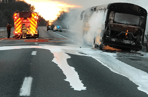 VSP Respond To School Bus Fire On I-64 In Albemarle County : No Injuries