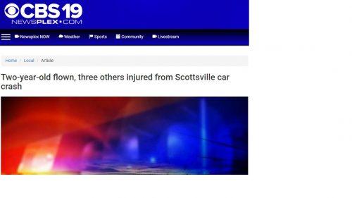 Scottsville : Two-year-old flown, three others injured from Scottsville car crash : Via CBS-19