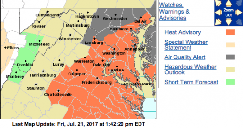 HEAT ADVISORY : Continues For Portions Of Blue Ridge Until 8 PM Friday Evening