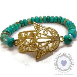 Turquoise & Gold Bracelet with Tumbaga Humsa 2