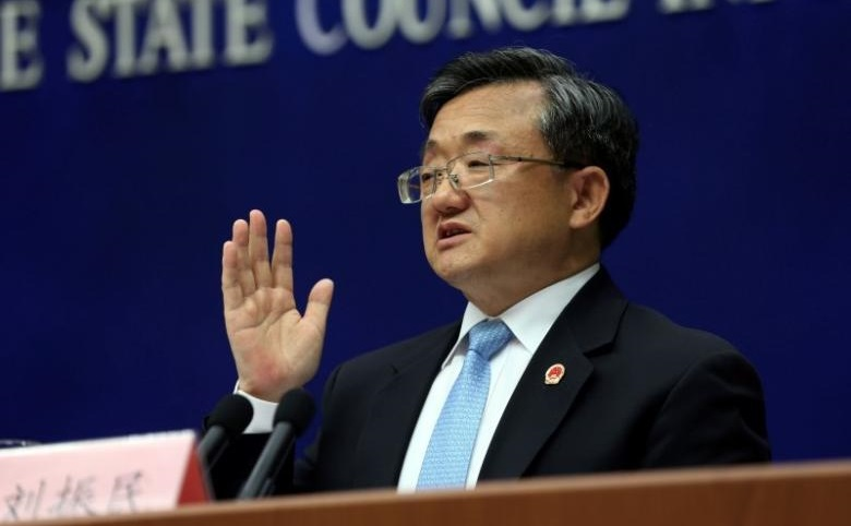 Vice Foreign Minister Liu Zhenmin speaks during a news conference in Beijing