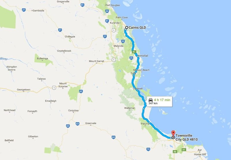 map townsville to cairns