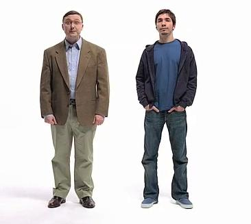 The PC Guy (left) and the Mac Guy (right).