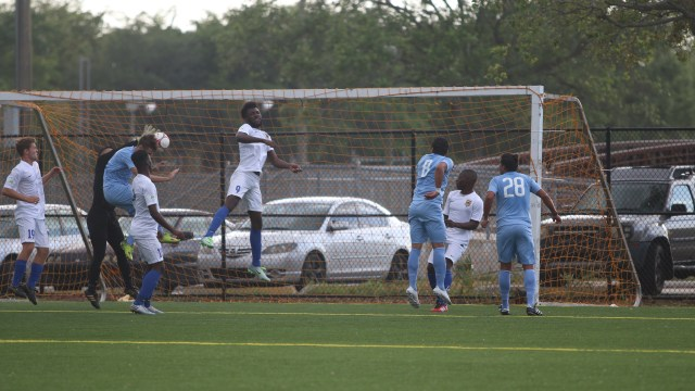 Justin Wilbanks scores against Jupiter United SC on a header in the 14th minute.