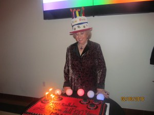 Marleen Forkas and her birthday cake
