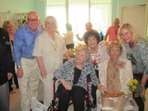 Flossy Keesley's 99th Birthday Celebration with close friends, Larry Caplan, Charlotte Beasley, Rosemary Krieger, Countess DeHoernle. and Suellen Caplan