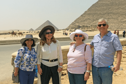 From left to right: Dilys Schoorman, Maysaa Barakat, Jennifer Freeland and John Hardman at the platform of the Keops (Khufu), the oldest of the Seven Wonders of the Ancient World in Giza, Egypt