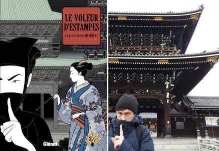 Le Voleur d'Estampes, tome, 2, et Camille Moulin-Dupré au temple Higashi Hongan-ji de Kyoto.