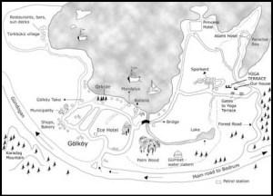 Map drawn by Yoga Turkey of Golkoy