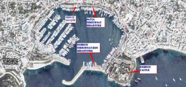 Location of Bodrum Peninsula Turkey Ferribot Terminals