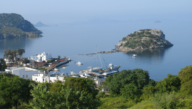 Gumusluk Harbour and Rabbit Island Bodrum Turkey
