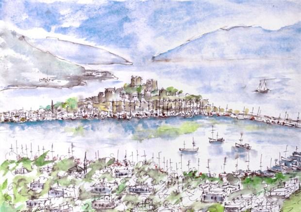 Watercolour of Bodrum Castle, Turkey