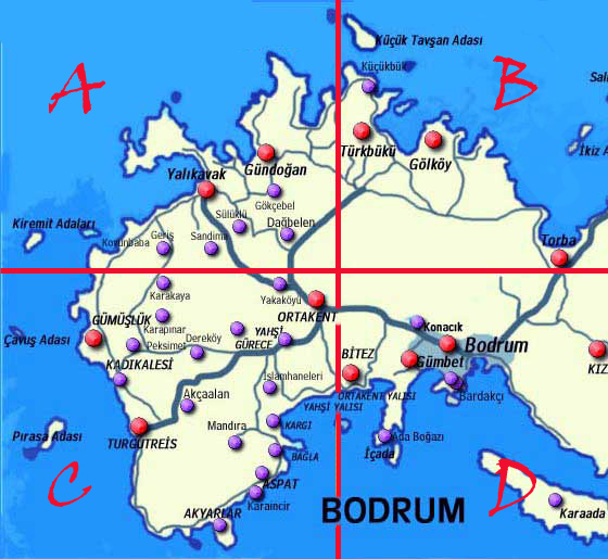 Bodrum Peninsula Map Turkey