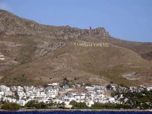 Turgutreis hilltop sign, Turkey