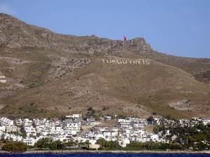 Turgutreis hilltop sign, Turkey