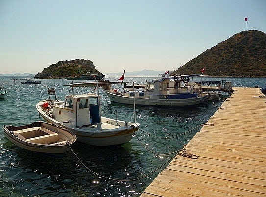 Gumusluk Koppers stop in the harbour on their tour of Bodrum Peninsula Turkey