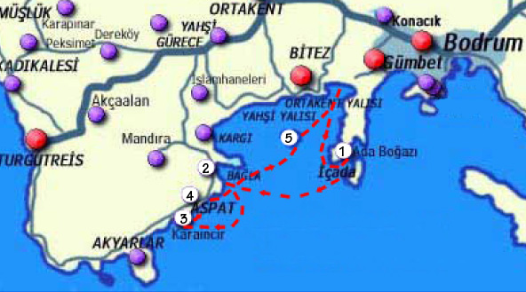 Map showing the route of the Kelebek Boat from Bitez Turkey