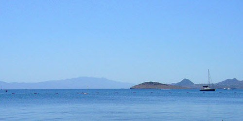 Landscape view of the Aegean of Bitez Bay, Islands and main land of Bodrum Peninsula