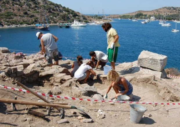 Team excavating Rabbit Island Gumusluk Bodrum Turkey