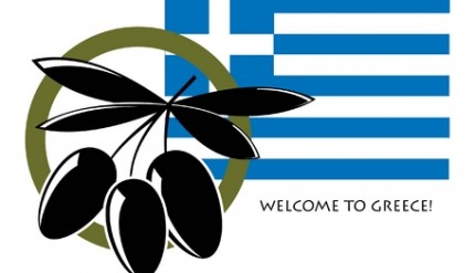 Black Olives and Greek Flag Logo with Welcome to Greece Text
