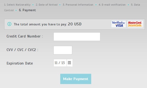 e-Visa Turkey Payment process screen Official website