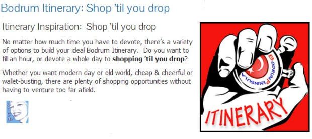 Bodrum Itinerarary Shop Til you Drop Home Page Icon