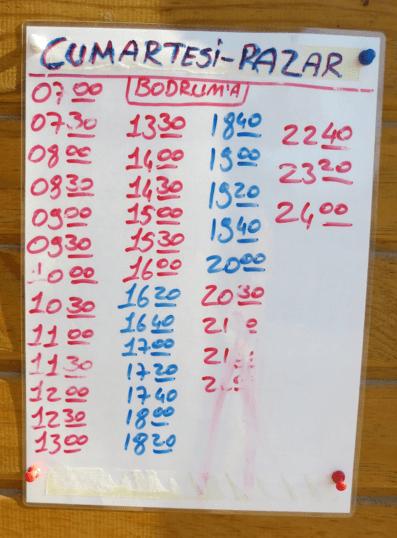 Gumusluk Time Table Sunday