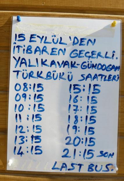 Yalikavak Bus Timetime from Gumusluk
