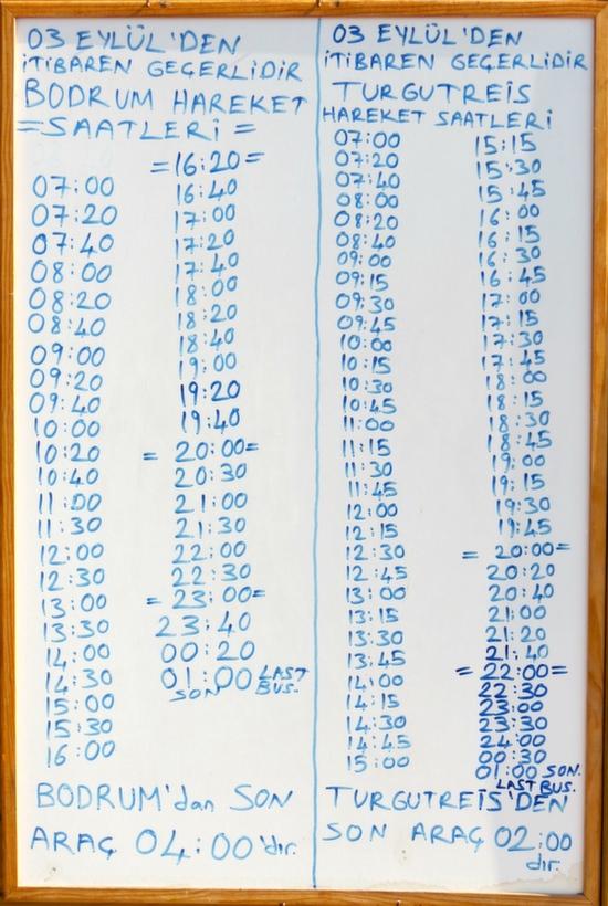 Gumusluk Dolmus Station Timetable Turkey