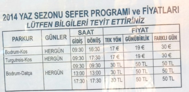Timetable for the Datca Ferry Boat Bodrum Turkey