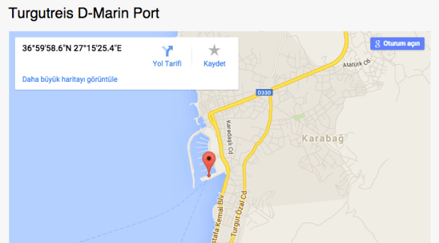 Yesil Marmaris Turgutreis Port Map