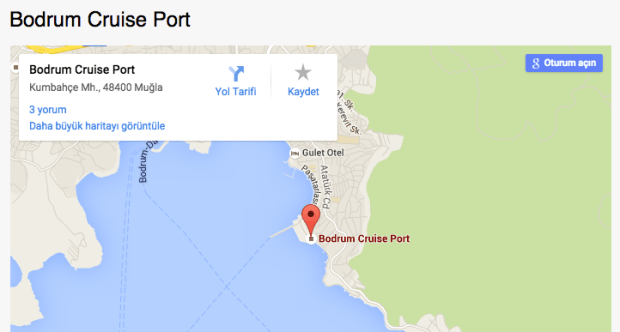 Yesil Marmaris Bodrum Port Map